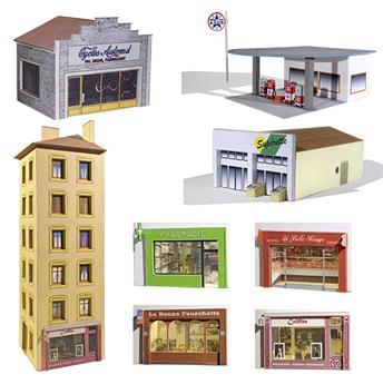 """Ensemble de bâtiments en carton à découper """"Commerces"""""""