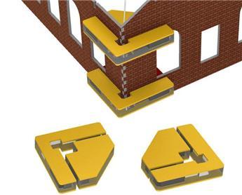 Ensemble de 2 équerres aimantées pour assemblage de bâtiment en kit