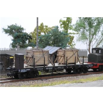 Chargement de 2 caisses pour wagon plat