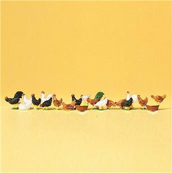 18 poules et coqs - H0 - Preiser