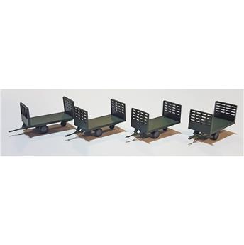Set de 4 chariots Poste en bois vert foncé Ep III