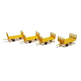 Set de 4 chariots Poste métal jaune Ep IV