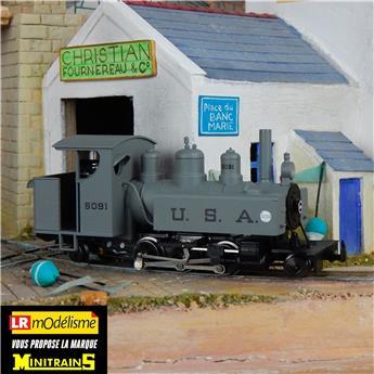 Locomotive à vapeur Baldwin type 131 grise, marquage noir
