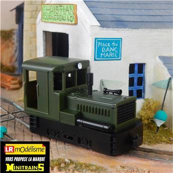 Locotracteur Plymouth vert, châssis noir, avec caisses et réservoir à air comprimé