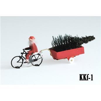 Père Noël à vélo et sa remorque prêt à rouler Magnorail