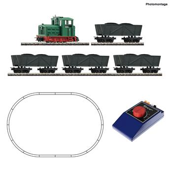 Coffret de démarrage analogique - locomotive diesel type à voie étroite avec wagonnets