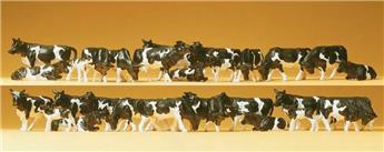 Vaches noires et blanches 30p - H0 - Preiser
