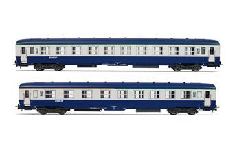 2 voitures DEV AO SNCF, 1ère et 2ème classe, livrée bleu gris, logo Nouille - A4c4/B5c5 - B10c10 - ép IV