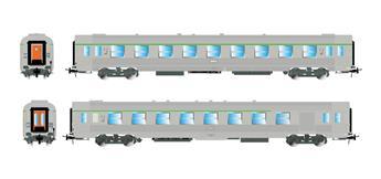 2 voitures DEV Inox SNCF, 2ème classe -B6Dtj et B9tj - ép IV V