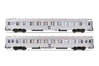 2 voitures DEV Inox SNCF, 2ème classe -B10j- ép IV
