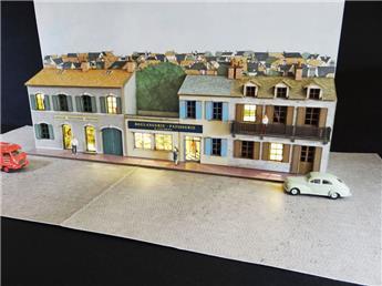 Fond de décor en relief 4 maisons + 2 commerces