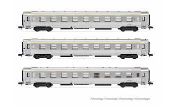 """Set de 3 voitures DEV Inox """"Le Bourbonnais"""", composé de 2xA9, 1 xA5 bar, ép. III SNCF"""
