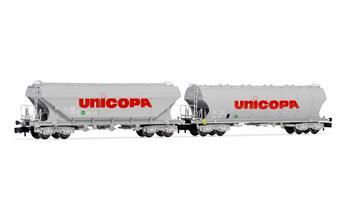 """Set de 2 wagons silo à  parois lisses et rondes livrée """"UNICOPA"""", ép. IV SNCF"""