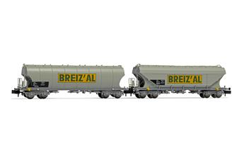 Set de 2 wagons-trémie, l'un de parois lisses et de l'autre de parois rondes, livrée BREIZ'AL, ép. IV-V SNCF