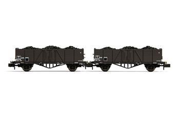 Set de 2 wagons Tw (avec des panneaux latéraux hauts), chargés avec charbon, ép. IIIa SNCF