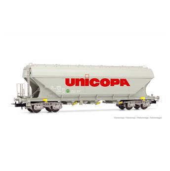 """Wagon trémie à 4 essieux à parois plates, livrée """"Unicopa"""", époque IV SNCF"""