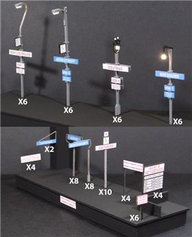 24 Lampadaires SNCF fonctionnels + panneaux - ep II III IV