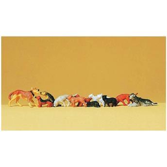 12 chiens et chats - H0 - Preiser