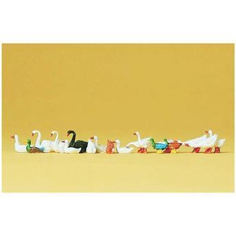 14 canards, oies et cygnes - H0 - Preiser