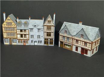 Alignement 6 maisons historiques bretonnes avec 1 angle