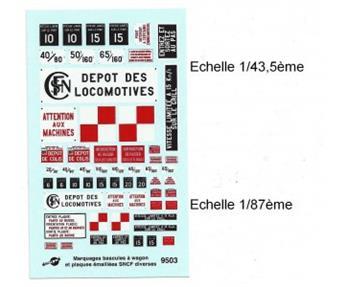 Marquages bascules à wagon et plaques émaillées SNCF diverses