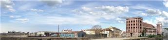 Fond de décor panoramique industriel - Rue de Suède - H0 (33 cm x 2.10 m)