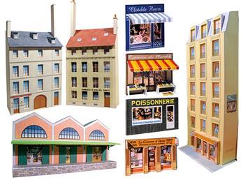 """Ensemble de bâtiments en carton à découper """"Fonds de décor n° 2"""""""