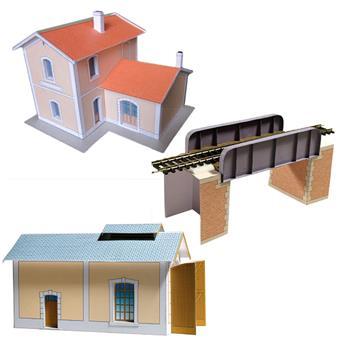 """Ensemble de bâtiments en carton à découper """"Bâtiments ferroviaires n°1"""""""