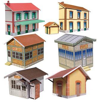"""Ensemble de bâtiments en carton à découper """"Bâtiments ferroviaires n°2"""""""