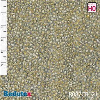 Mur de pierres rondes ocre gris polychrome