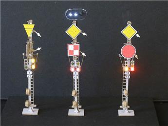 Kit de 3 doubles signaux mécaniques combinés sur mât unifié
