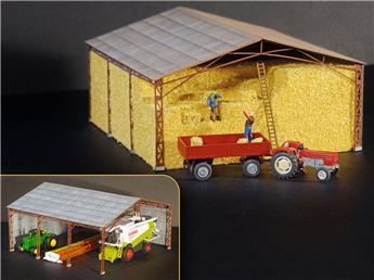Hangar métallique avec ballots de paille